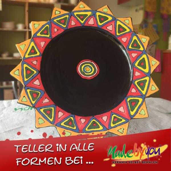 "Keramik zuhausemalen.de | Sternenteller klein <span style=""font-size: 10px"">(Farbgröße M)</span> Teller"