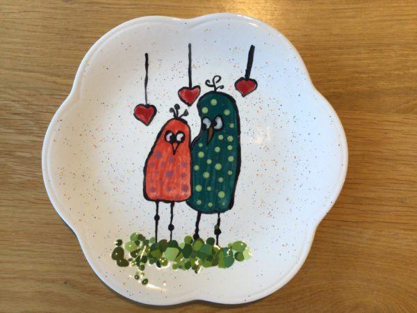 Keramik zuhausemalen.de   Flower Power Dessert ( Farbgröße M) Teller