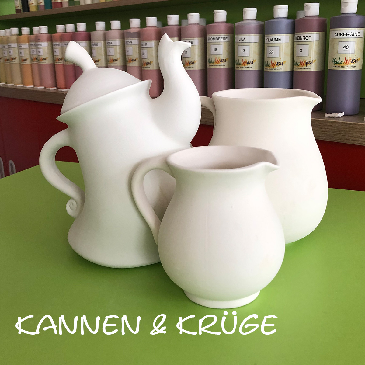 Keramik zum bemalen Krüge und Kannen