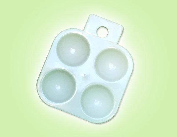 Keramik zuhausemalen.de | Palette aus Plastik klein Pinsel und Malzubehör