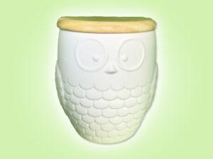Keramik zuhausemalen.de | Eulendose mit Holzdeckel (Farbgröße L) Dosen