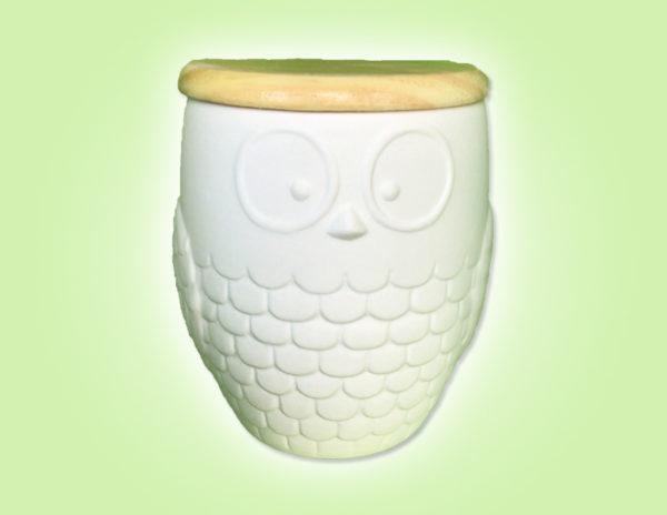 Keramik zuhausemalen.de   Eulendose mit Holzdeckel (Farbgröße L) Dosen