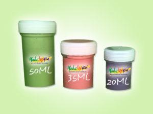 Keramik zuhausemalen.de | befüllte Farbdöschen Pinsel und Malzubehör