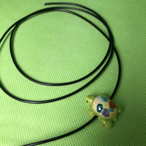 Keramik zuhausemalen.de   Lederband braun  Länge 80cm  Ø2mm Perlen & Anhänger