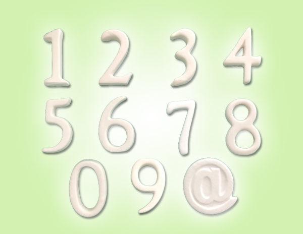 Keramik zuhausemalen.de   Zahlen Höhe 3,5cm unsere kleinen Littels